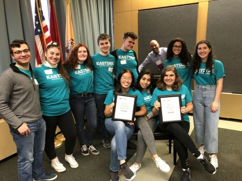 Staffers from Cherry Hill East pose with their Distinguished Journalism and Overall Excellence awards.